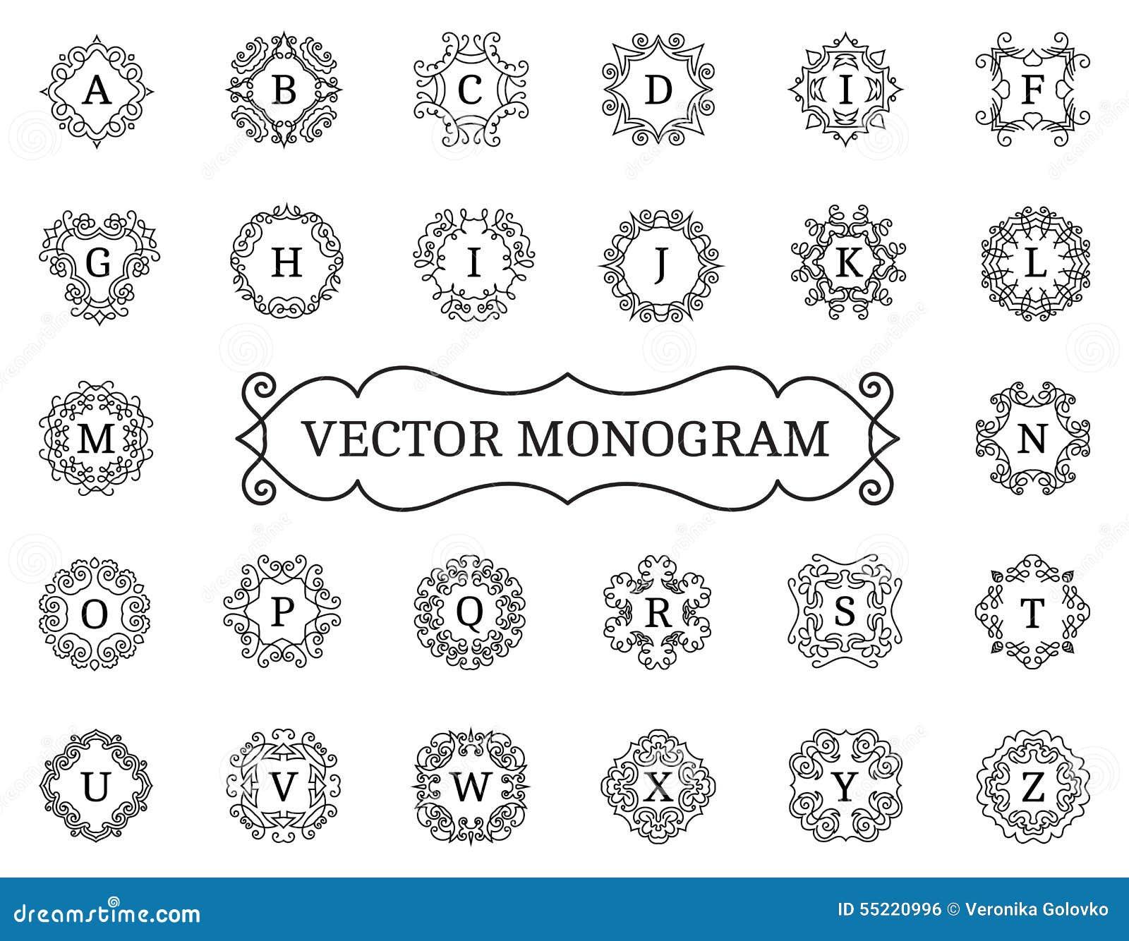 Elegant vector monogram collection stock image