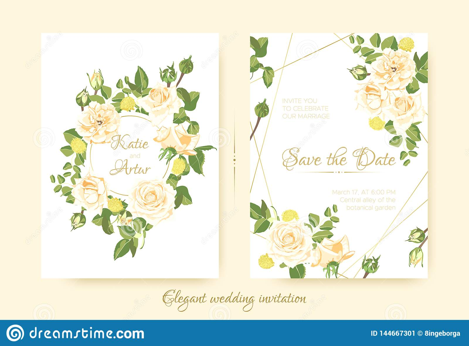 Elegant Vintage Wedding Cards With Roses. Stock Vector ...