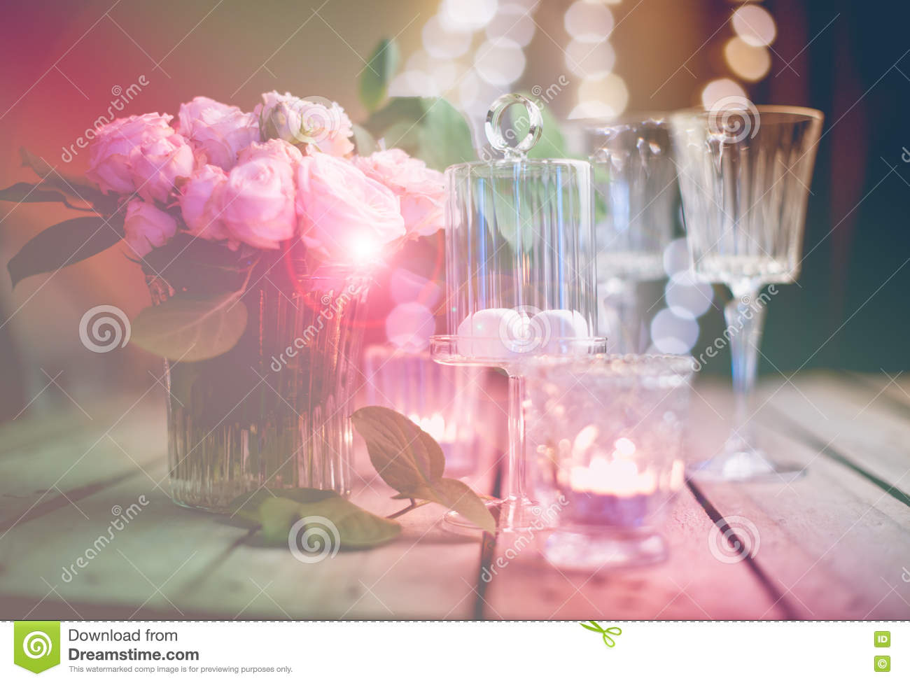 Elegant decorations wedding table lights Fairy Elegant Vintage Wedding Table Decoration With Roses And Candles Warm Night Light Filter Dreamstimecom Elegant Vintage Wedding Table Decoration With Roses And Candles