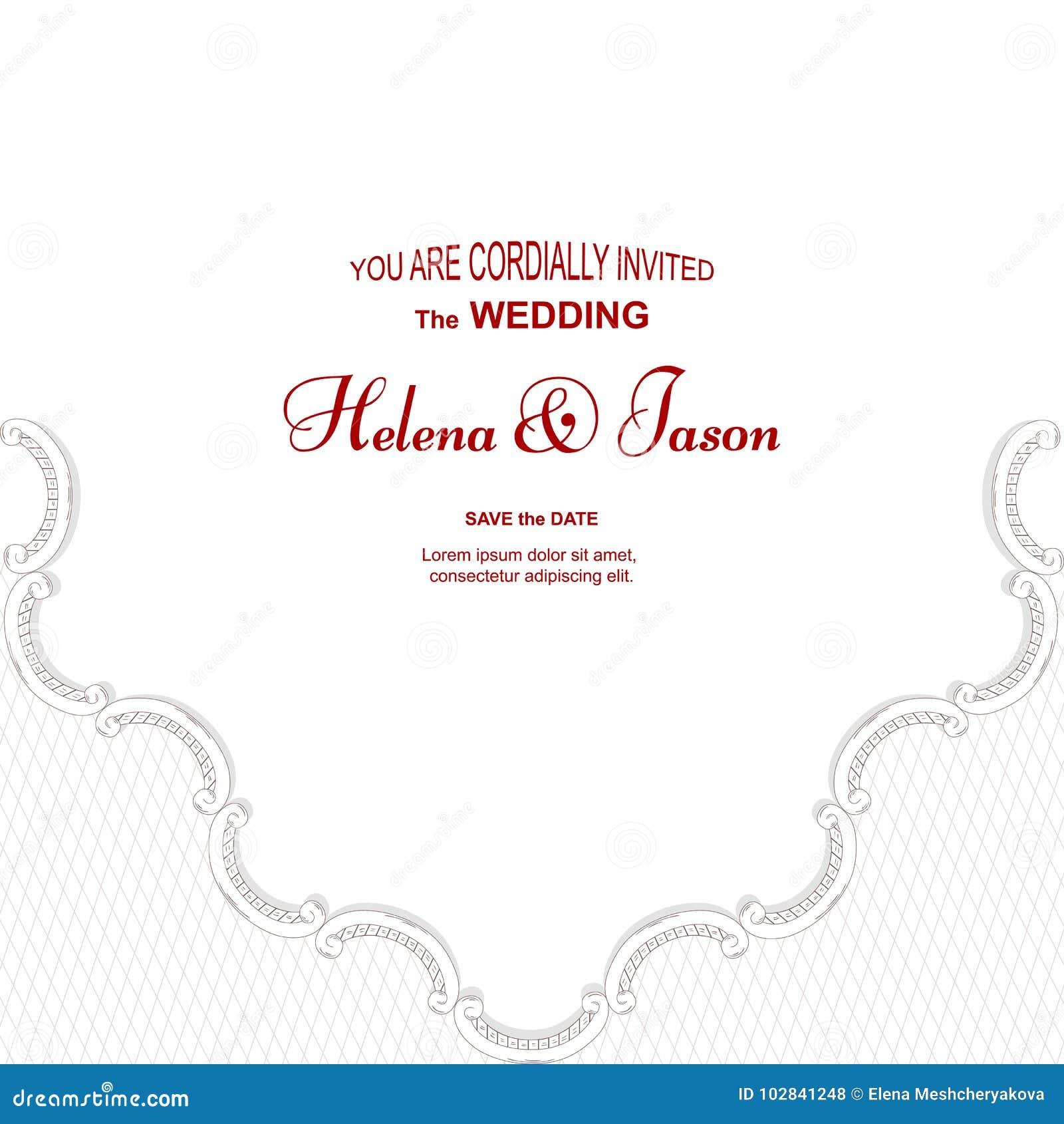 Elegant Vintage White Card For The Wedding Invitation, The Ornament ...