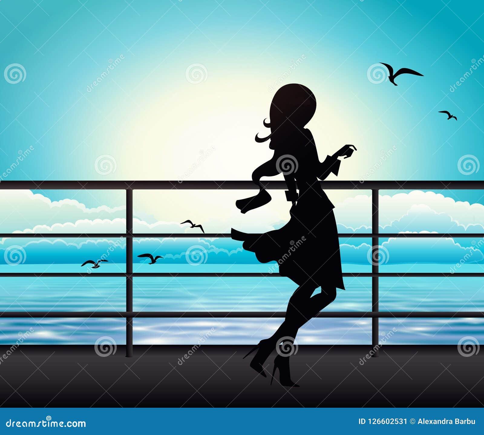Elegant vrouwensilhouet op een veerboot