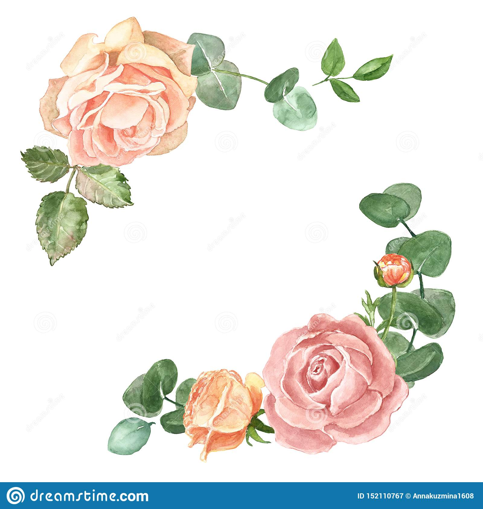 Elegant Watercolor Floral Frame Template For Wedding Invitations