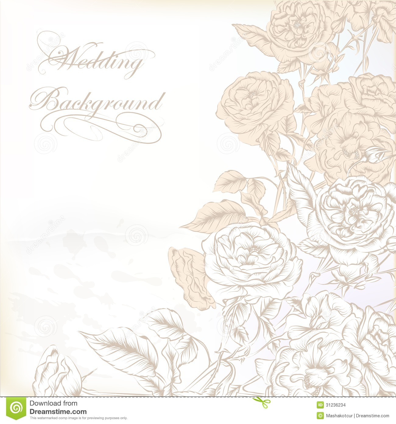 Elegant Wedding Background With Hand Drawn Roses For Design