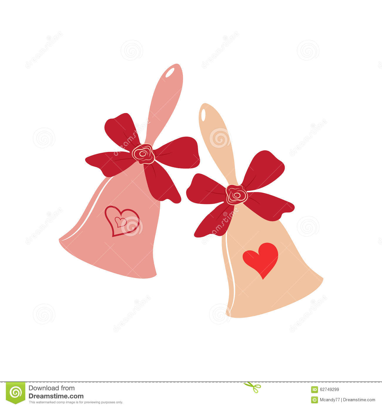 Elegant Wedding Bells With Hearts Over White Background