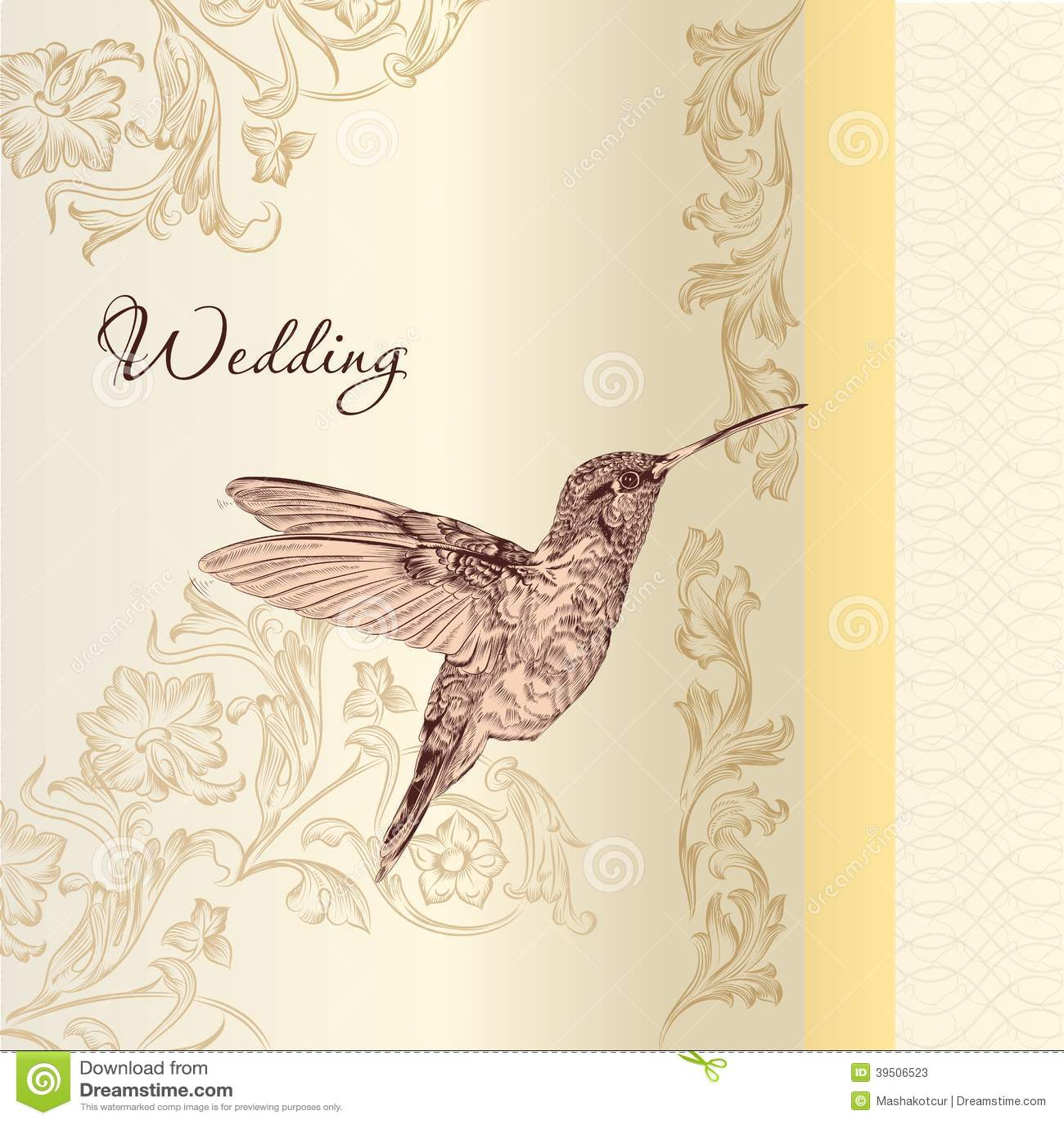 Elegant wedding card in vintage style