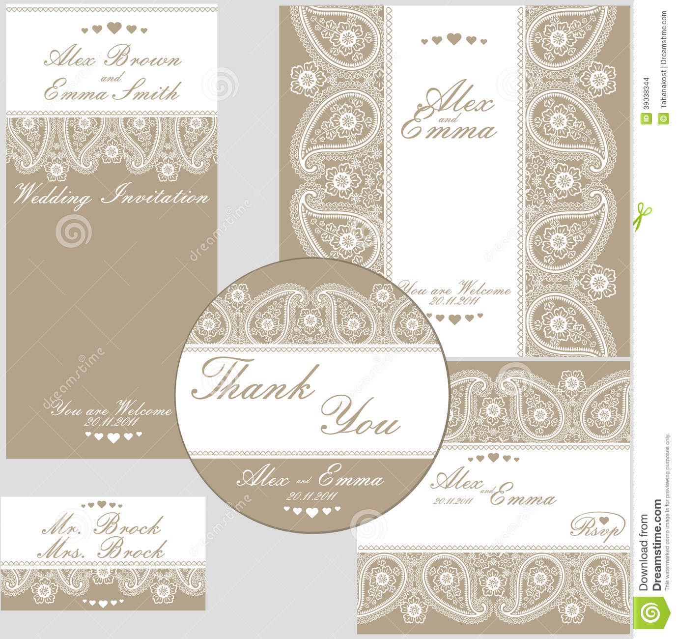 elegant wedding design template of lace stock vector