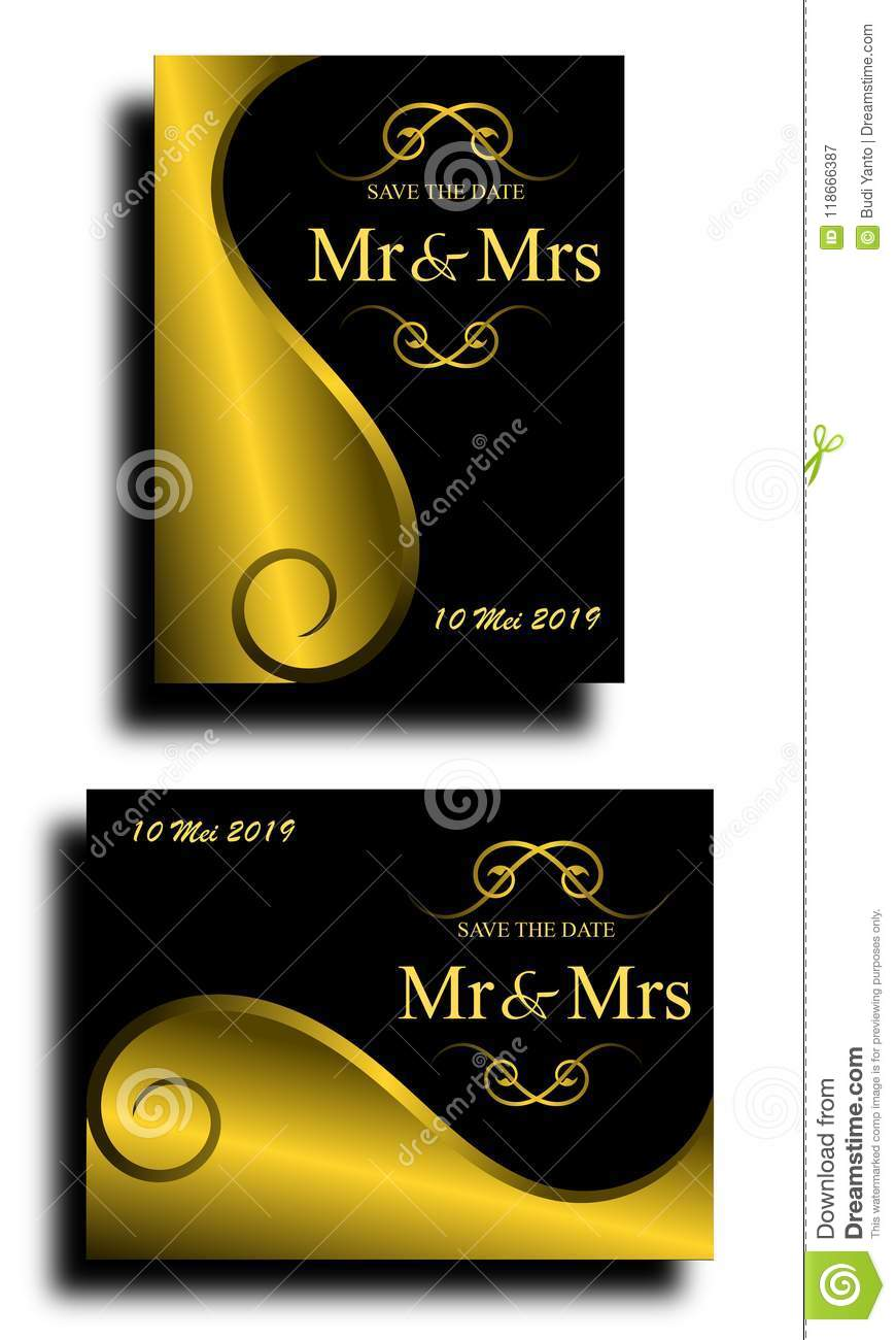 Elegant Wedding Invitation With Black And Gold Style Stock Vector