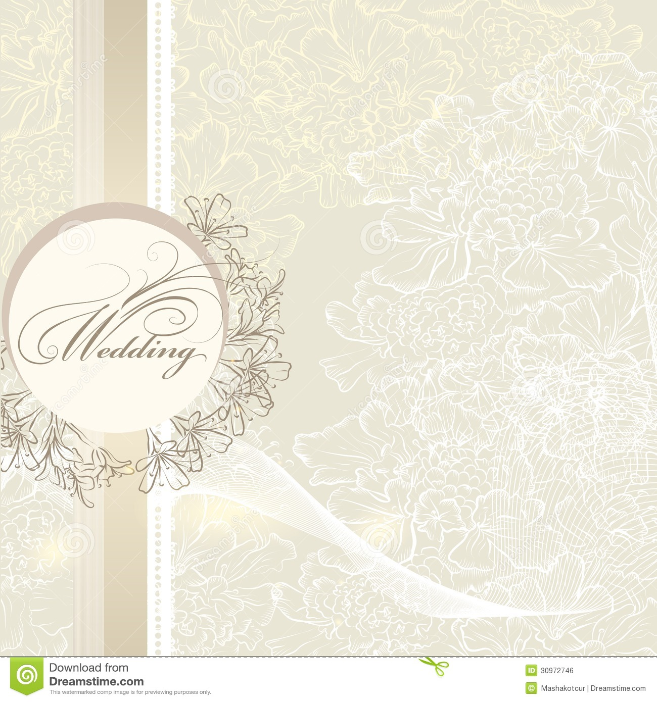 Elegant Wedding Invitation Card With Banner And Flowers Stock Vector ...