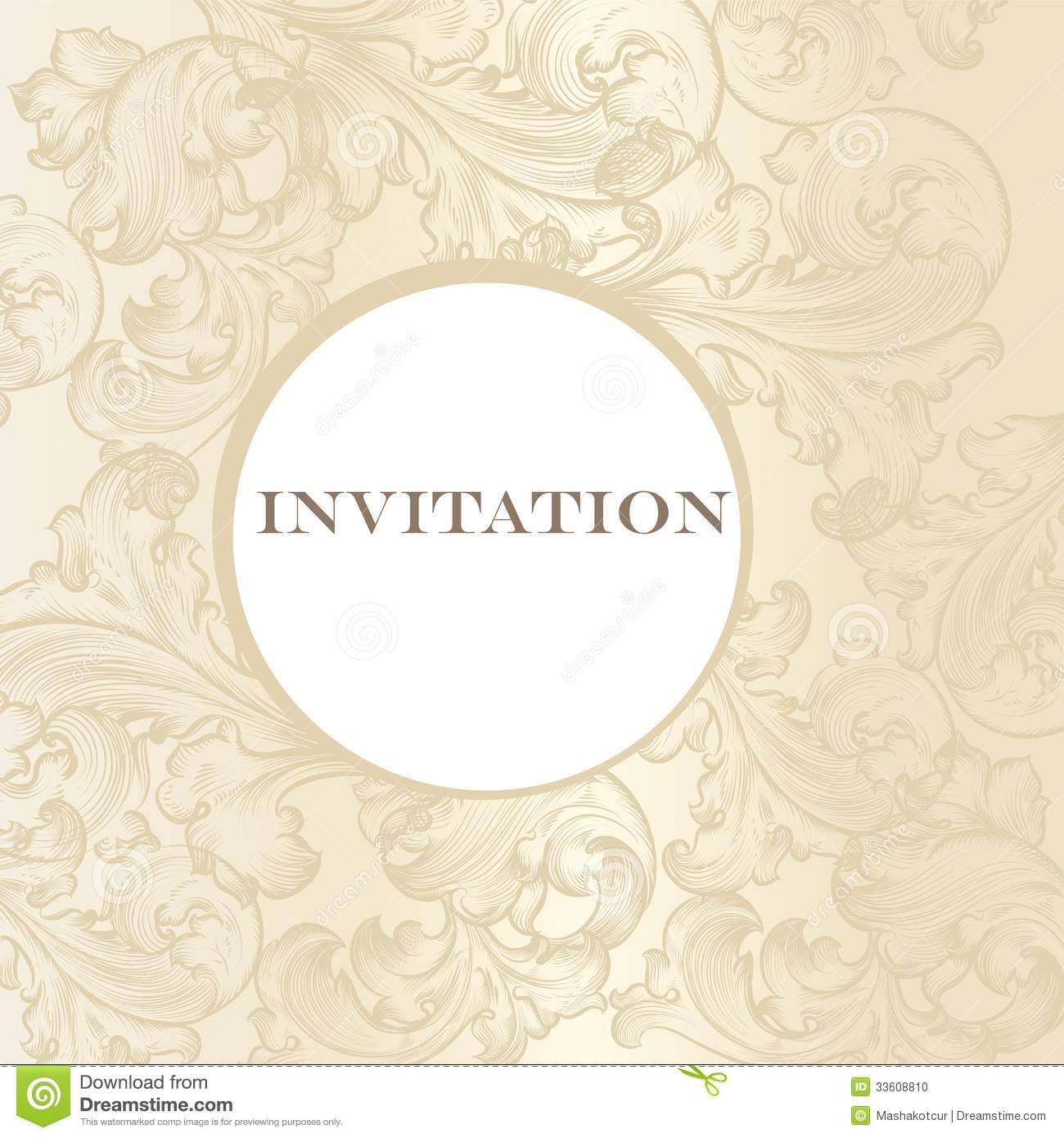 Elegant Wedding Invitation Card For Design Stock Vector