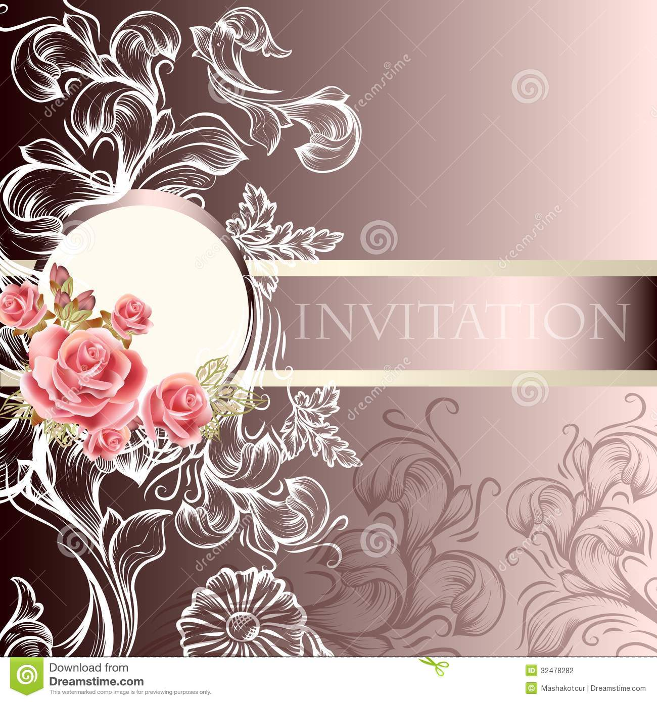 Elegant Wedding Invitation Card In Pastel Tones Stock Vector Illustration Of Flower Butterfly 32478282
