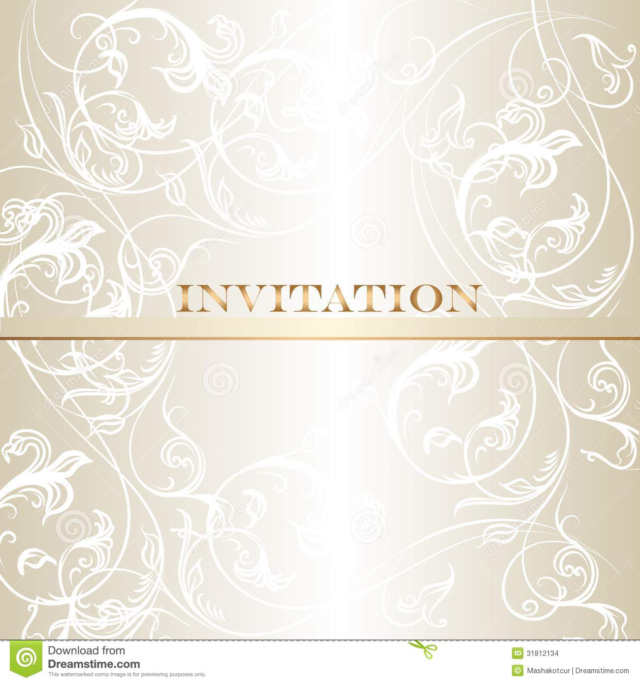 Elegant Wedding Invitation Card In Pastel White Tones