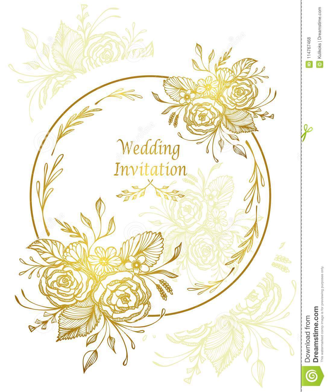 Elegant Wedding Invitation Card With Flowers Bouquet Gold On