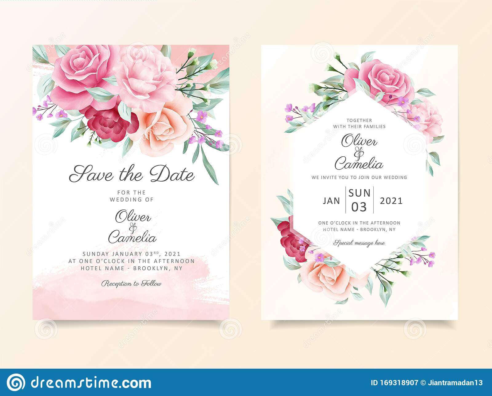 Elegant Wedding Invitation Card Template Set With Soft Watercolor Flowers Decoration Floral Illustration Background Of Peach Stock Vector Illustration Of Border Garden 169318907