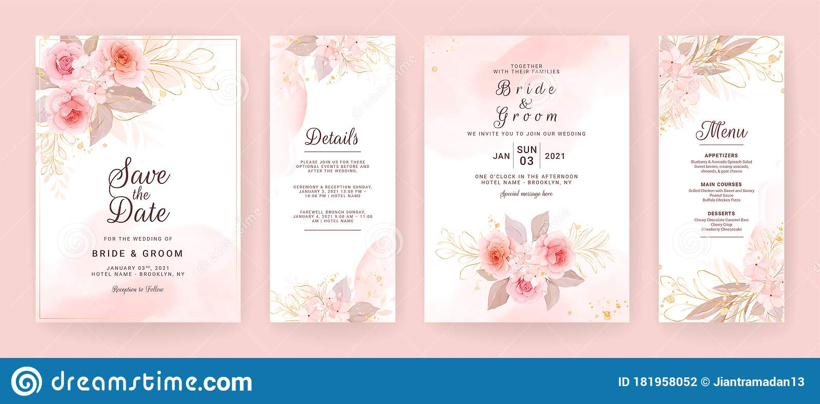 Elegant Wedding Invitation Card Template Set With Watercolor And