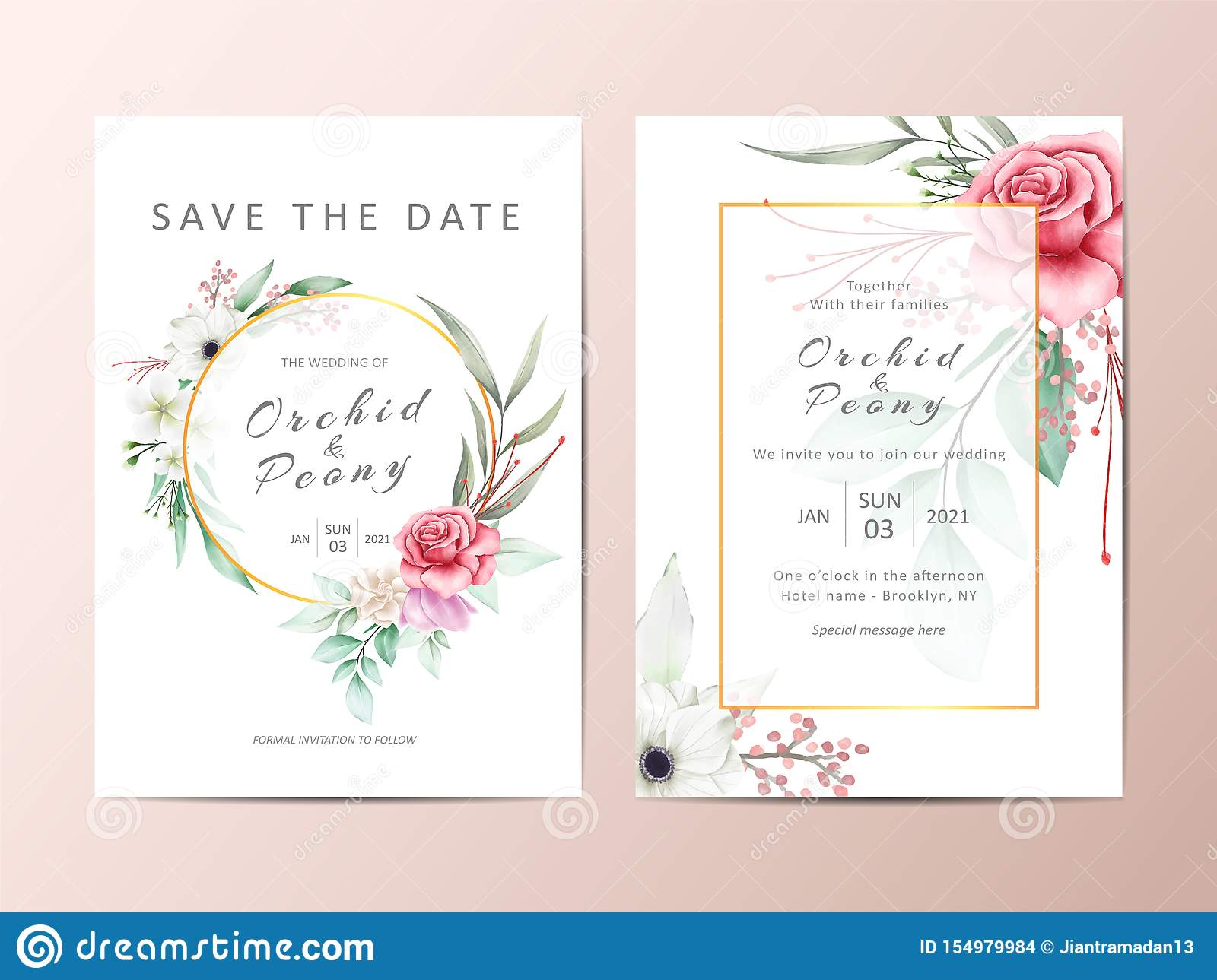 Elegant Wedding Invitation Template Cards With Watercolor Flowers ...