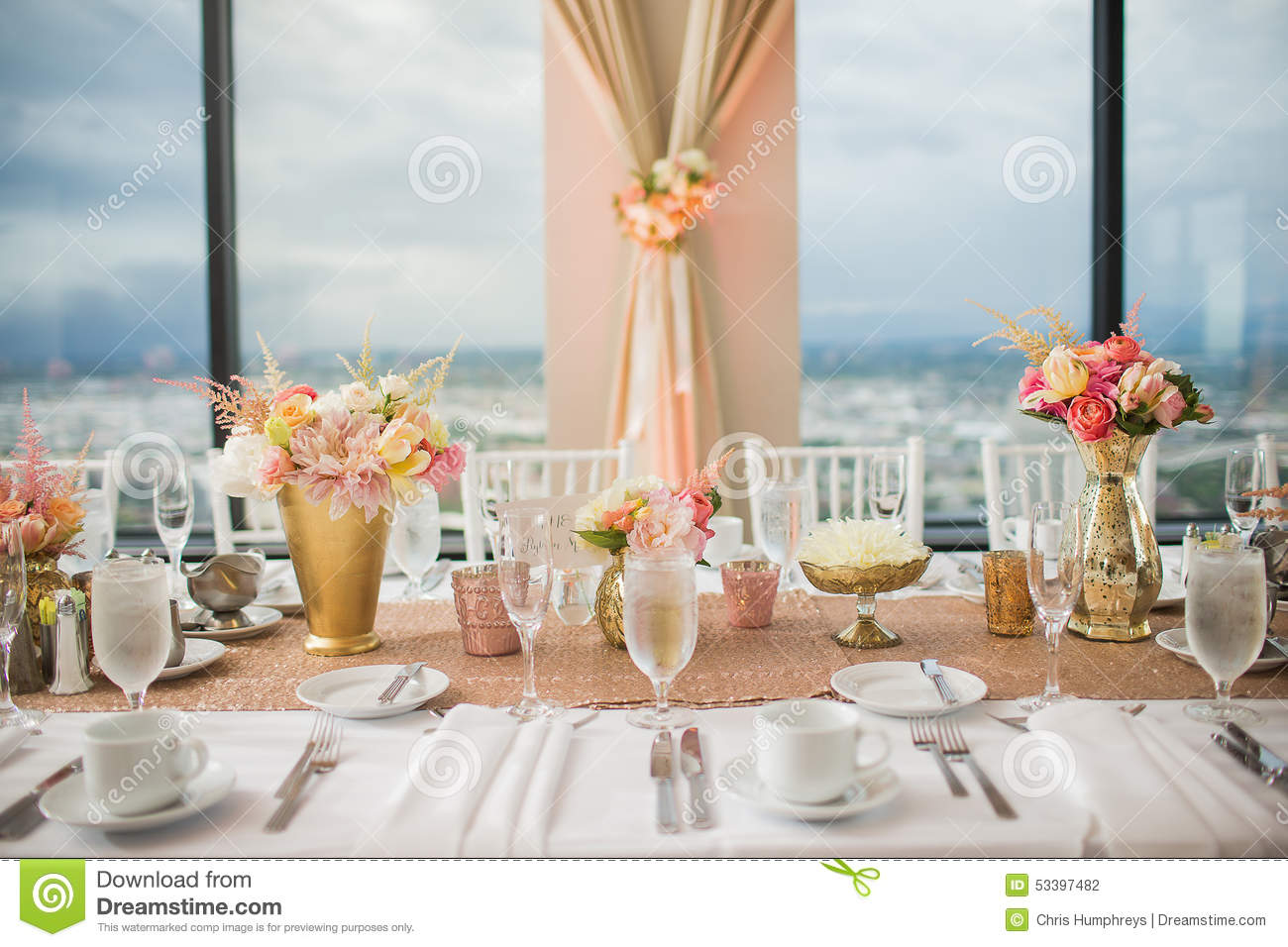 Stock Photo Elegant Wedding Reception Table Decor Centerpieces Hotel Ballroom Image53397482 on banquet chairs for less