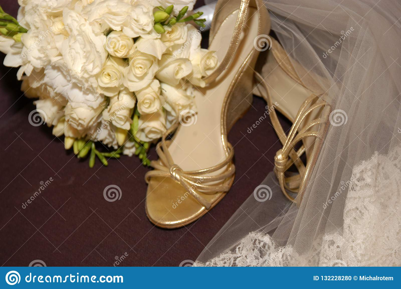 Wedding Sandals For Bride.Wedding Sandals Shoes And Veil Of The Bride Stock Photo Image Of