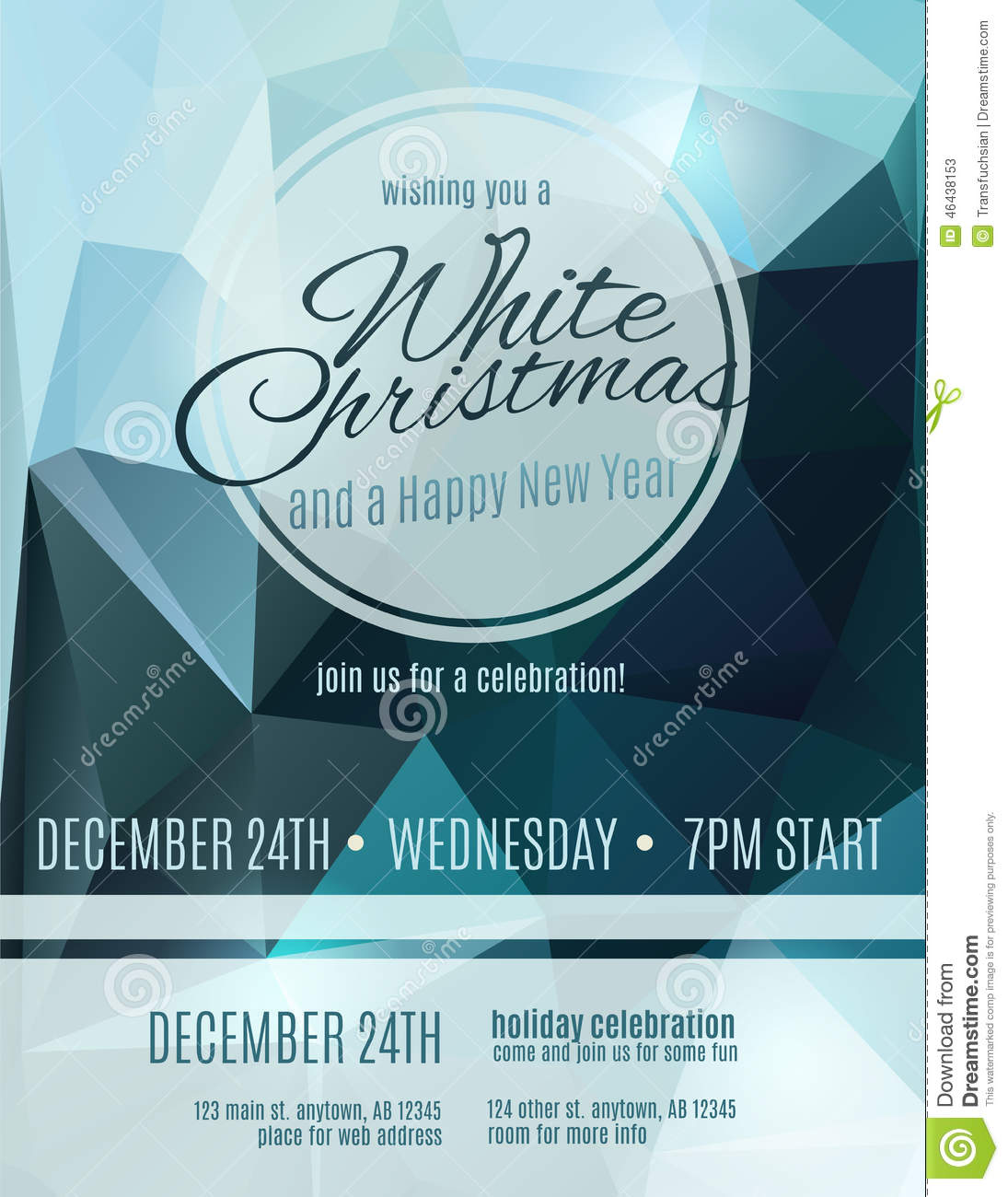 Elegant White Christmas Party Flyer Vector Image 46438153 – Elegant Holiday Party Invitations