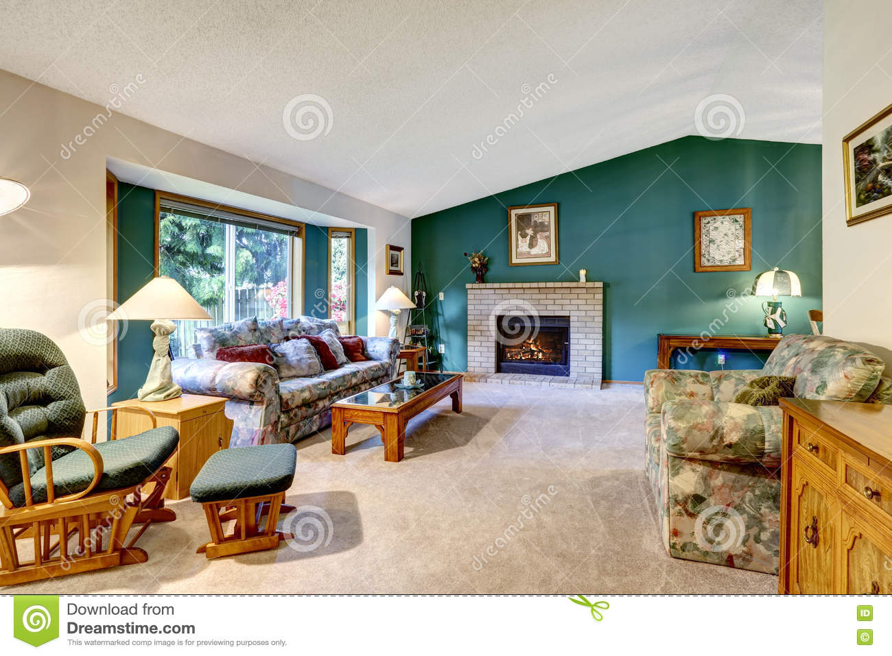 Elegant White And Green Living Room Classic American Design Brick Fireplace Rocking Chair And Colorful Sofa Stock Image Image Of Brick Fireplace 74224467
