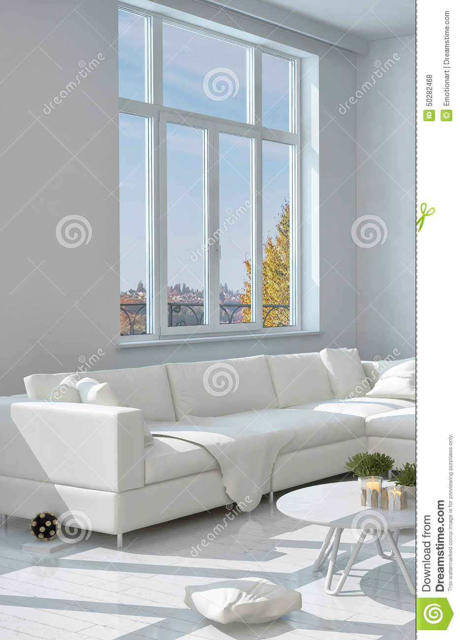 Elegant White Sofa Near The Glass Window Stock Illustration