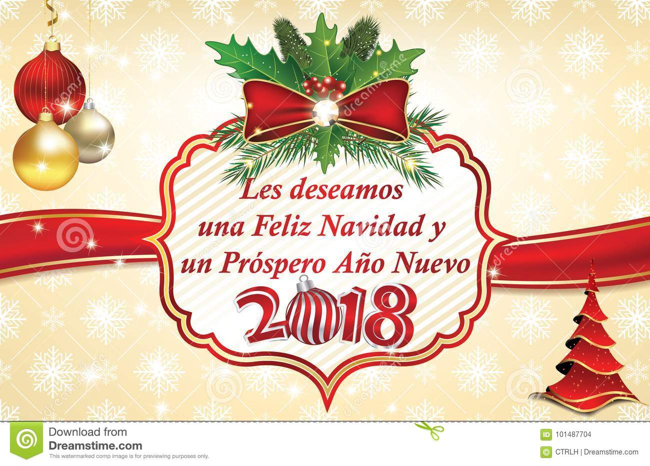 Winter Holidays Christmas And New Year Greeting Card In Spanish