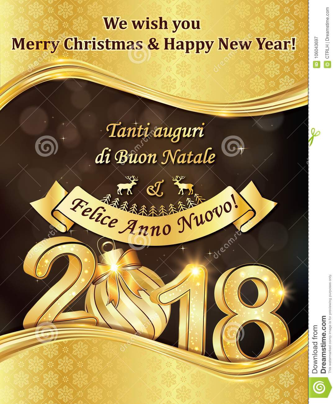 Elegant Winter Holiday Greeting Card With Text In Italian And