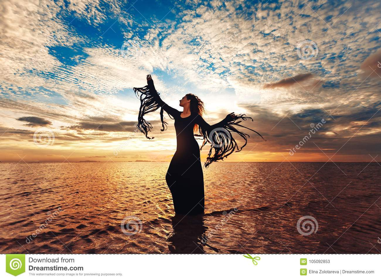Download Elegant Woman Dancing On Water. Sunset And Silhouette Stock Image - Image of dancing, mysterious: 105092853