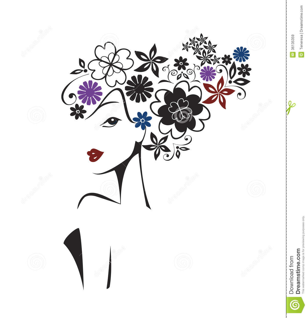 Elegant Woman With Floral Head Royalty Free Stock Images Image