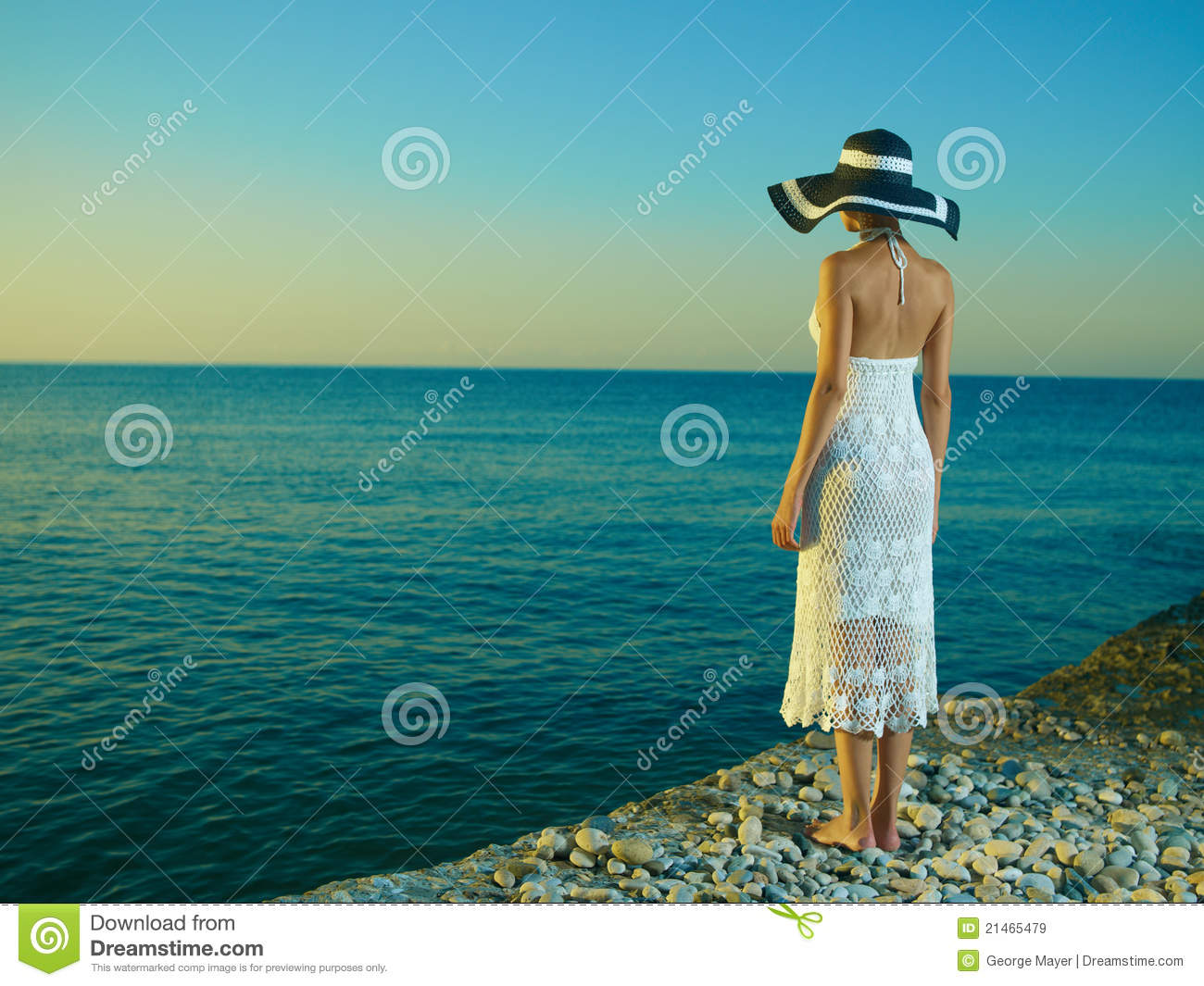 Elegant woman in a hat at sea