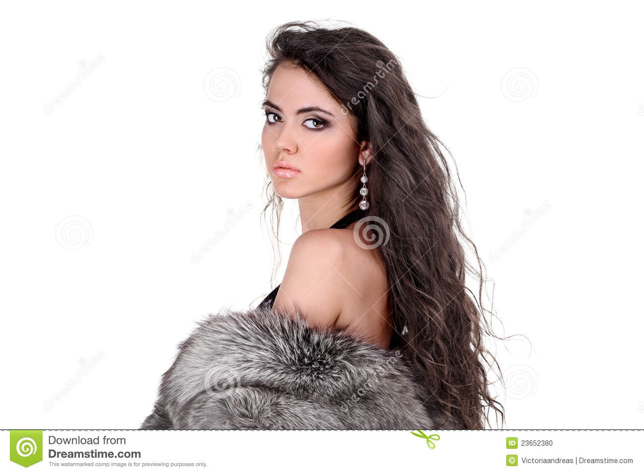 Elegant Woman With Long Curly Hair Stock Photo Image
