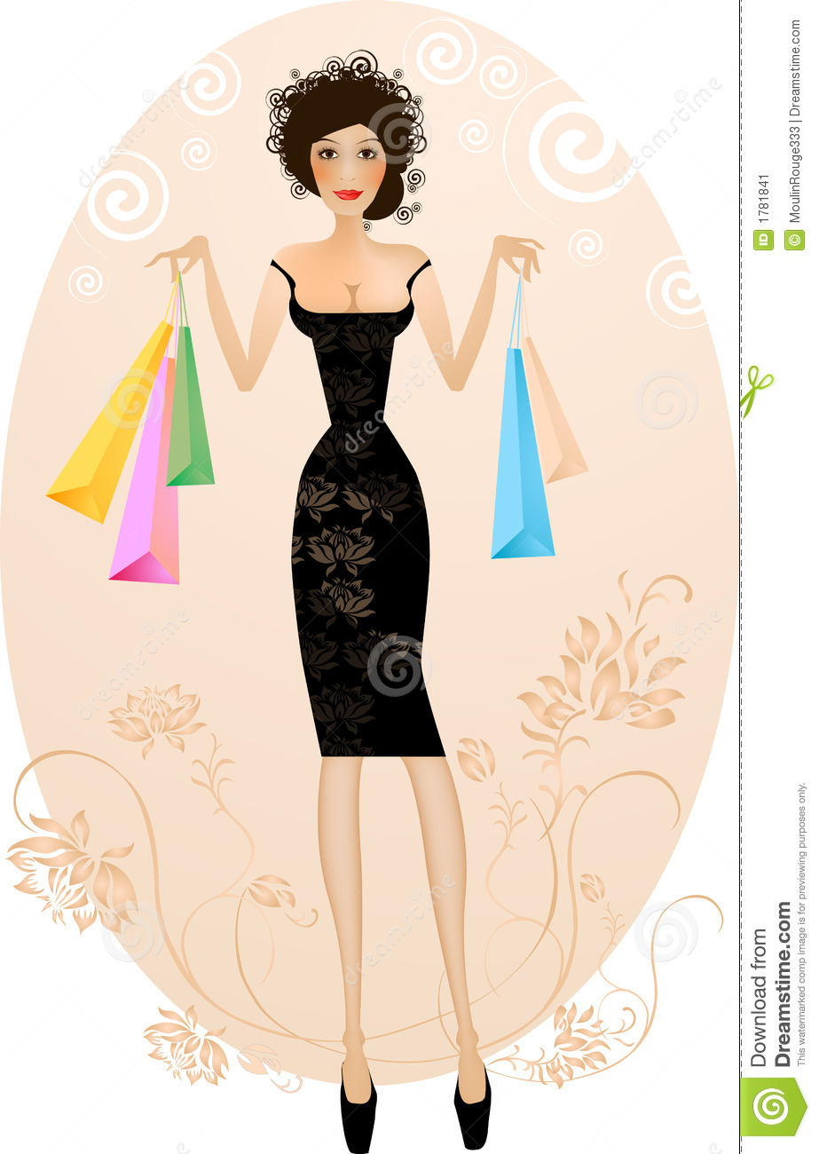 Elegant woman with purchase ba