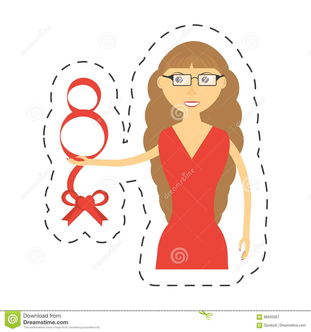 6d04ef1f4 Elegant Woman Red Dress Icon Stock Illustration - Illustration of ...
