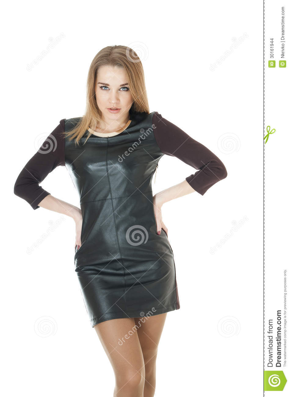 Elegant Woman Wearing Leather Short Dress. Stock Images ...