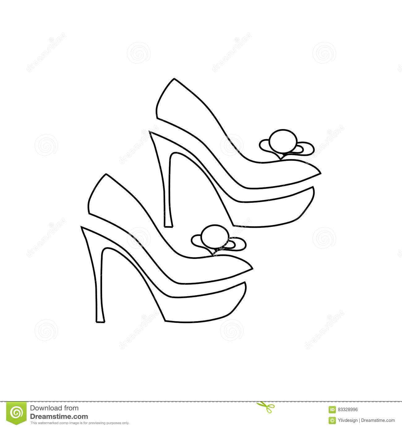 b8a22499d65c Elegant women high heel shoe icon in outline style isolated on white  background vector illustration. More similar stock illustrations