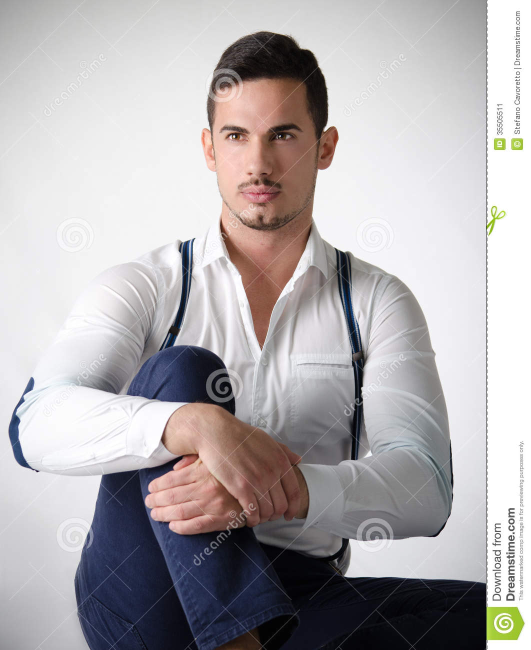 Elegant Young Man With White Shirt And Suspenders Stock ...
