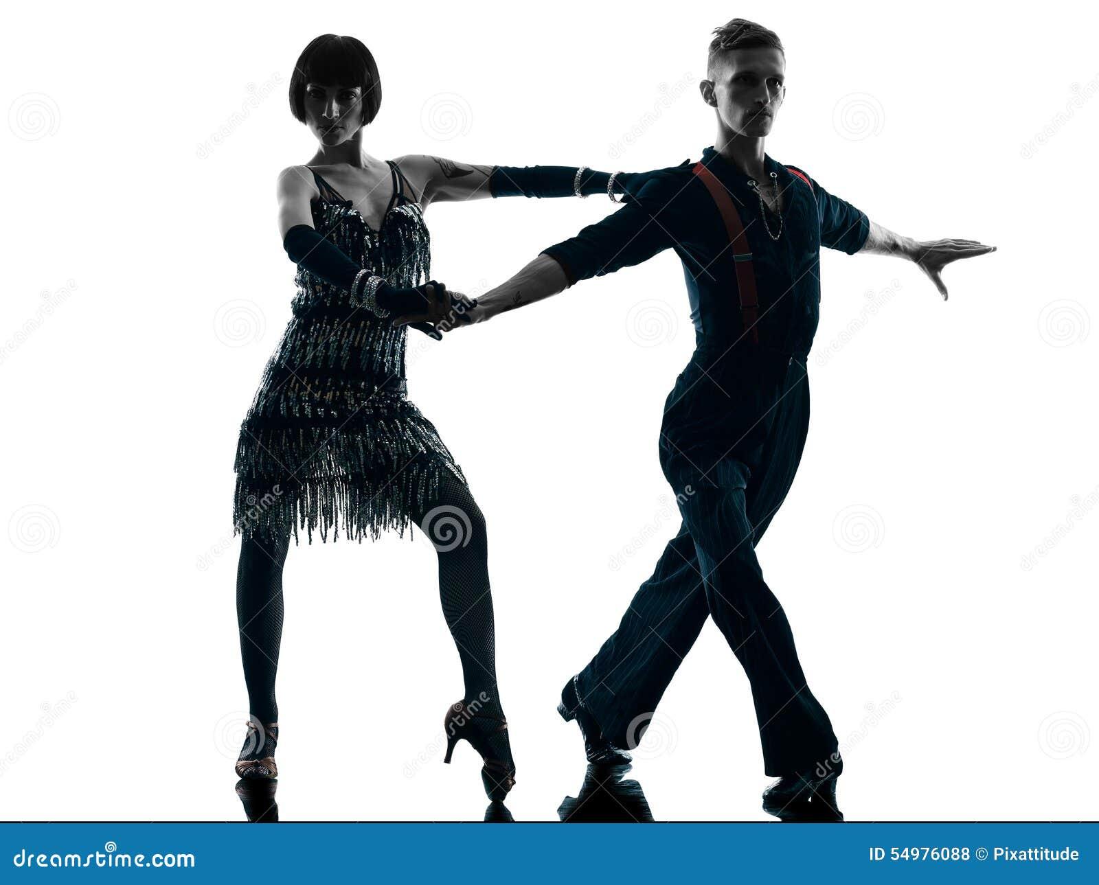 Eleganta pardansare som dansar konturn