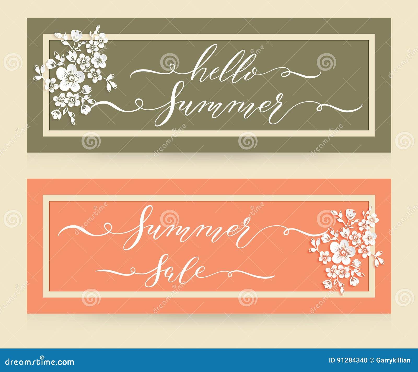 Eleganta vektorkort med Hello sommar- och sommarförsäljningsbokstäver