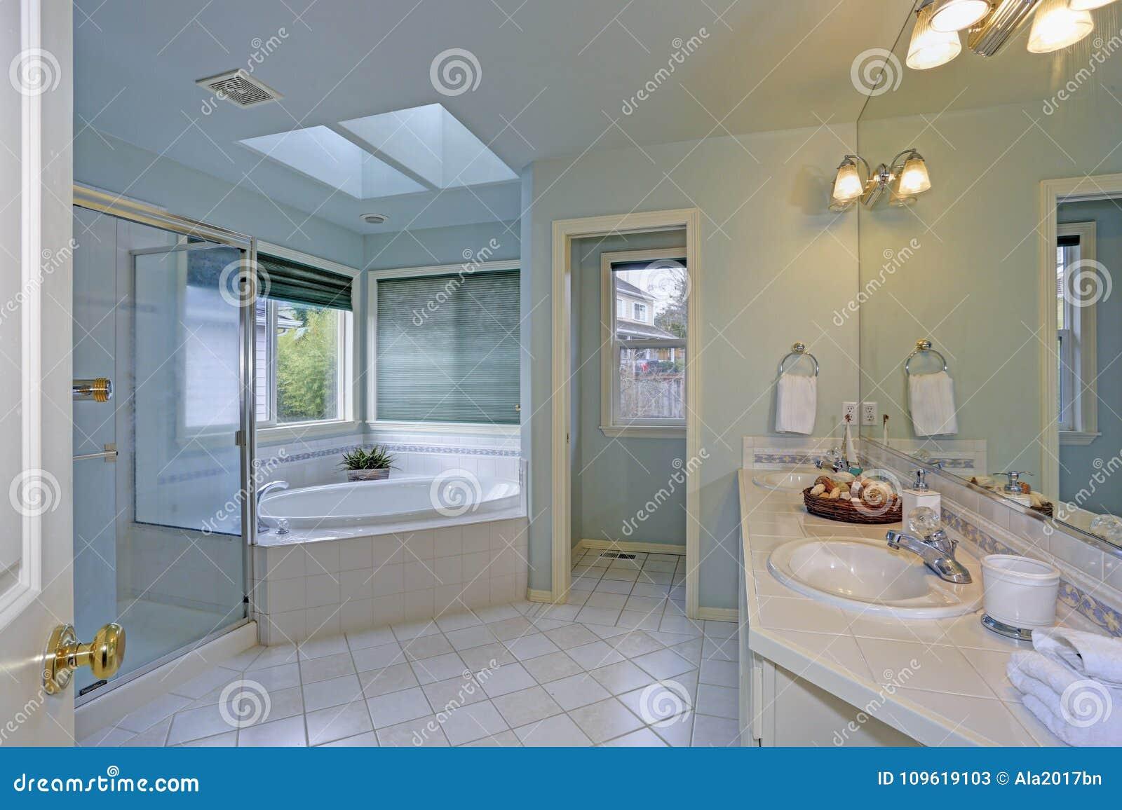 Elegante badkamers met dakraam stock afbeelding afbeelding