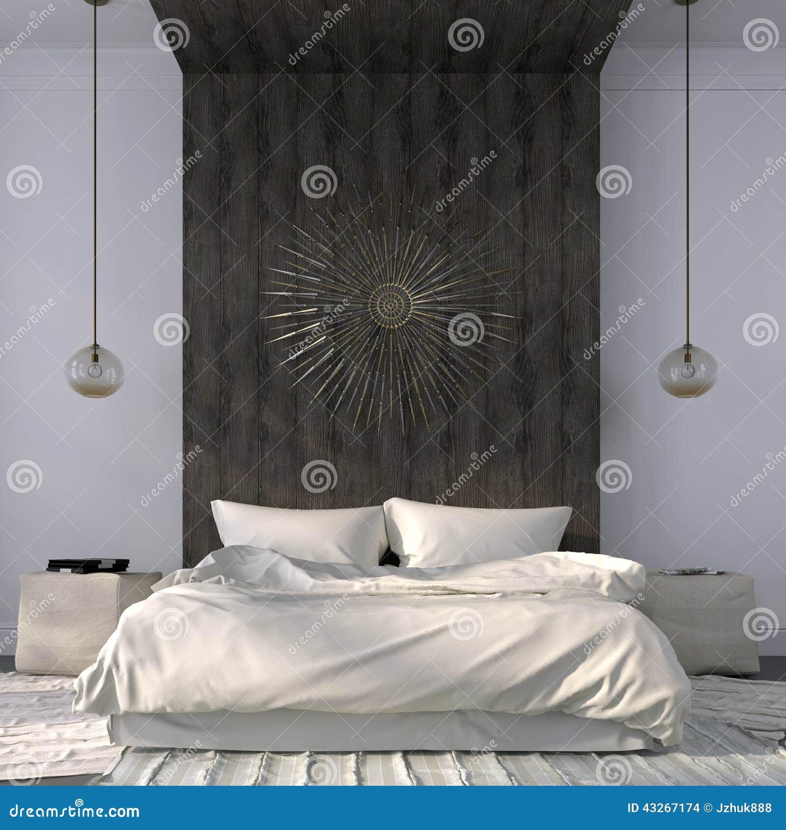 Elegante beige slaapkamer met houten decor stock illustratie ...
