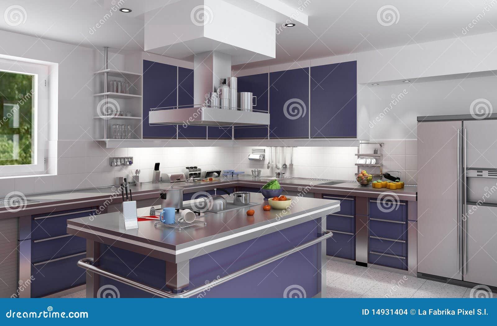 Moderne Blauw Keuken : Elegante blauwe keuken stock illustratie. illustratie bestaande uit