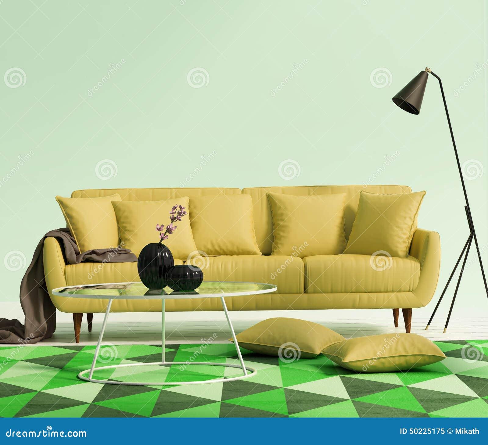 Elegante Elegante Luxe Gele Woonkamer Stock Afbeelding - Afbeelding ...