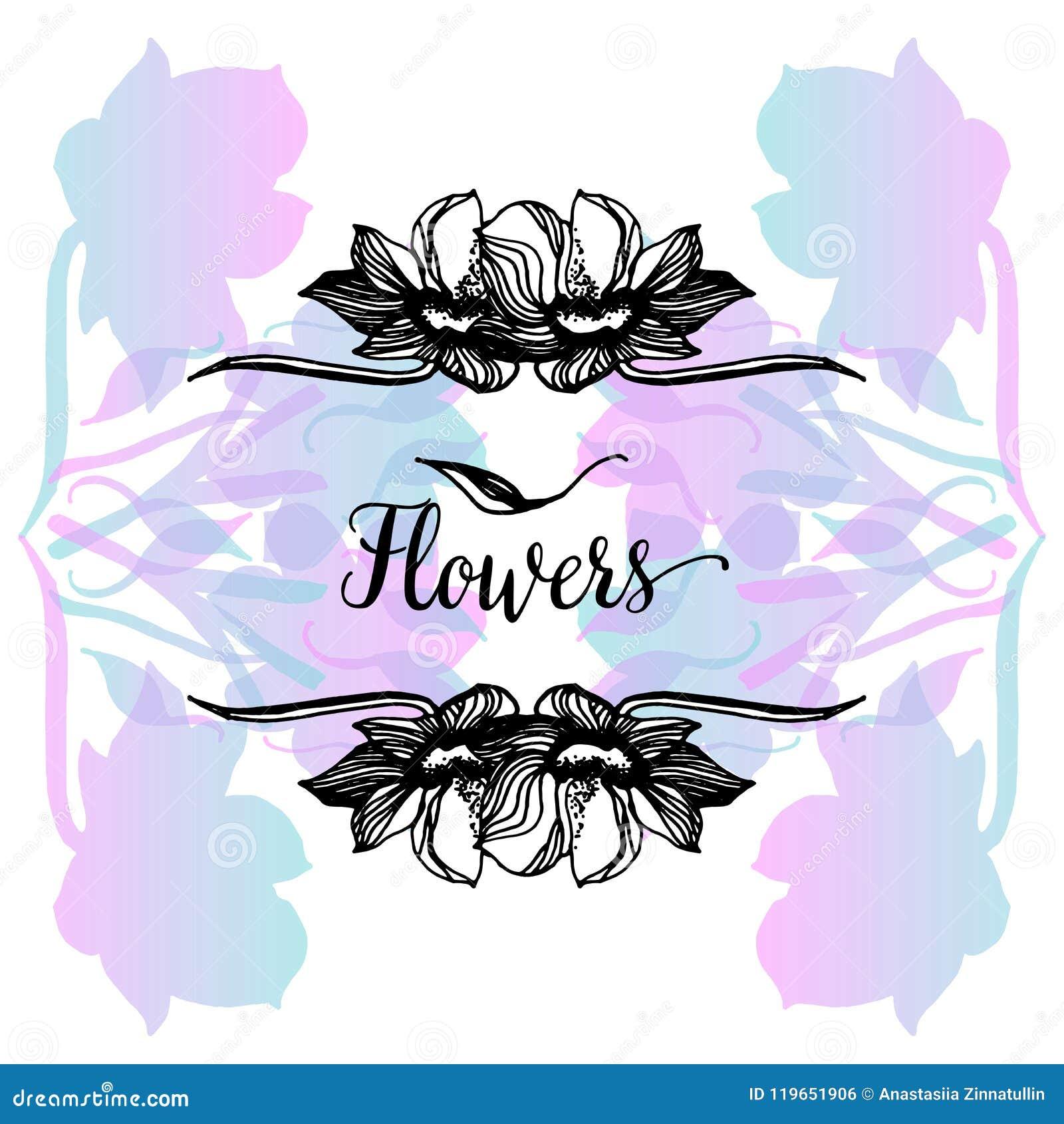 Elegante en leuke illustratie Druk voor textiel en industriële doeleinden En een mooi romantisch kader van bloemen