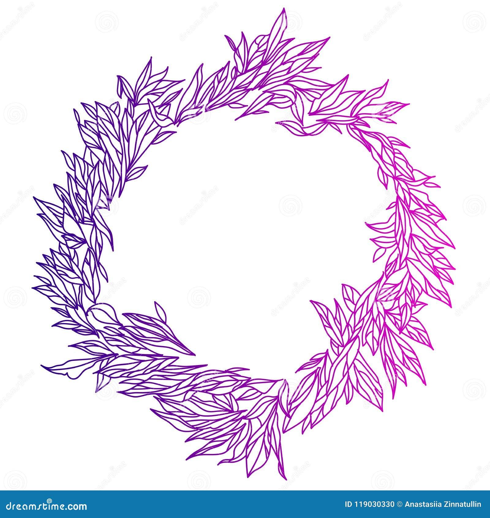 Elegante en leuke illustratie Huwelijkskader van greens en takken Grafisch tekenings bloemenpatroon Textielstof