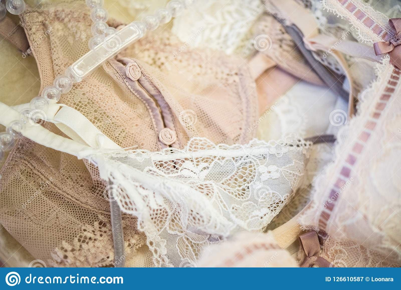 Elegante Frauen ` s Unterwäsche, Spitze bas, Wäschedetails