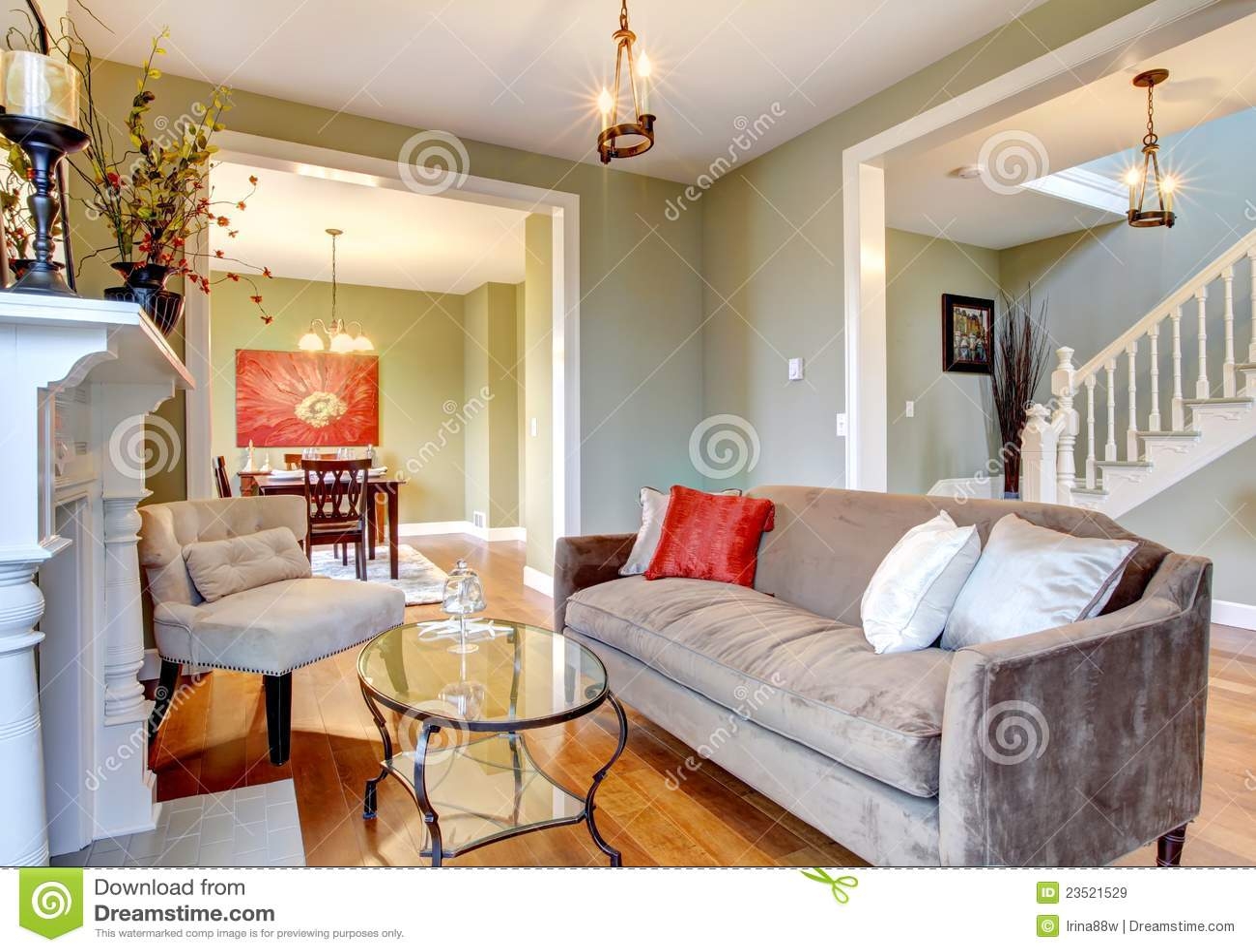 ... -vrije Stock Afbeeldingen: Elegante groene woonkamer groene muren