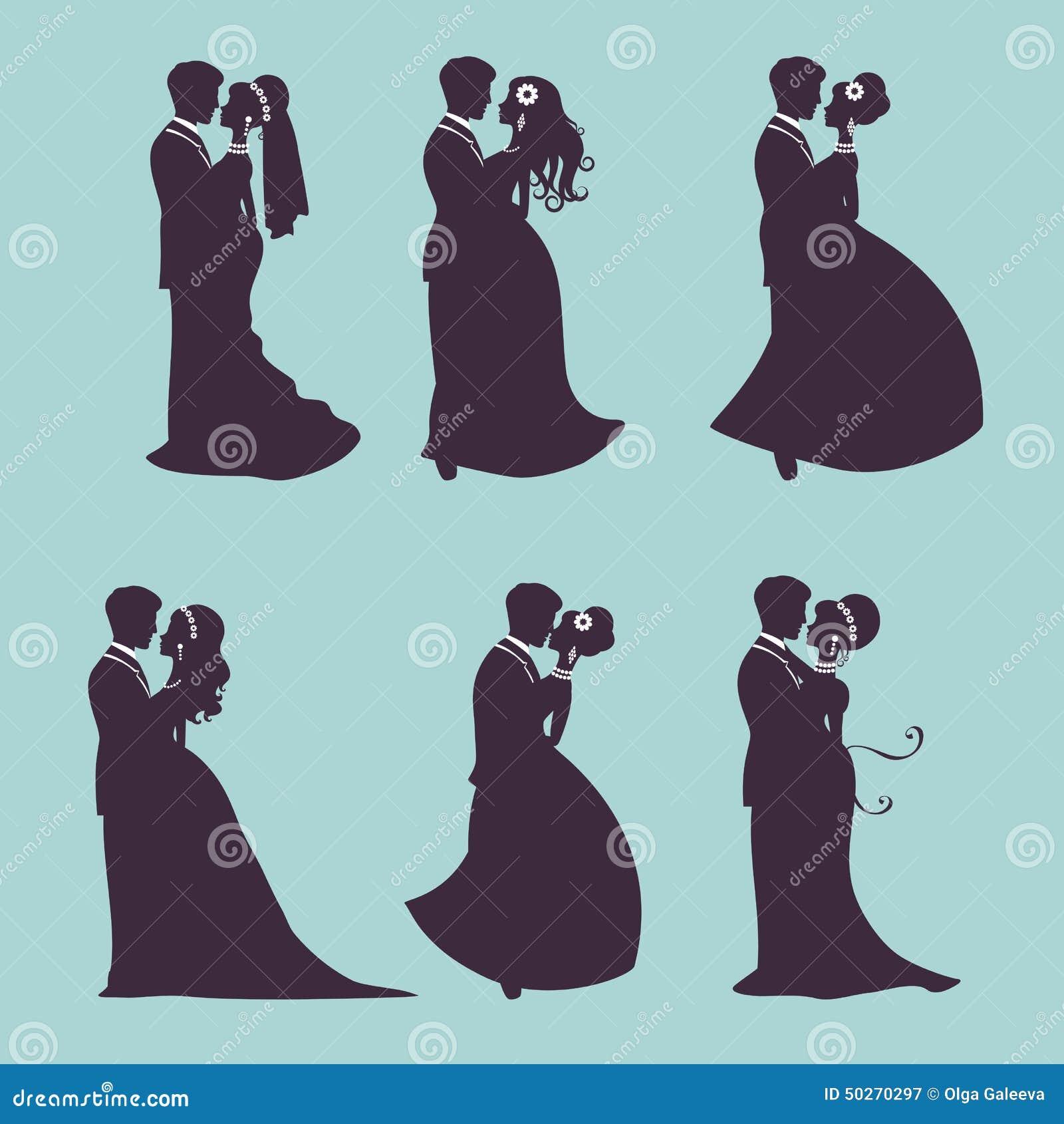 Elegante huwelijksparen in silhouet
