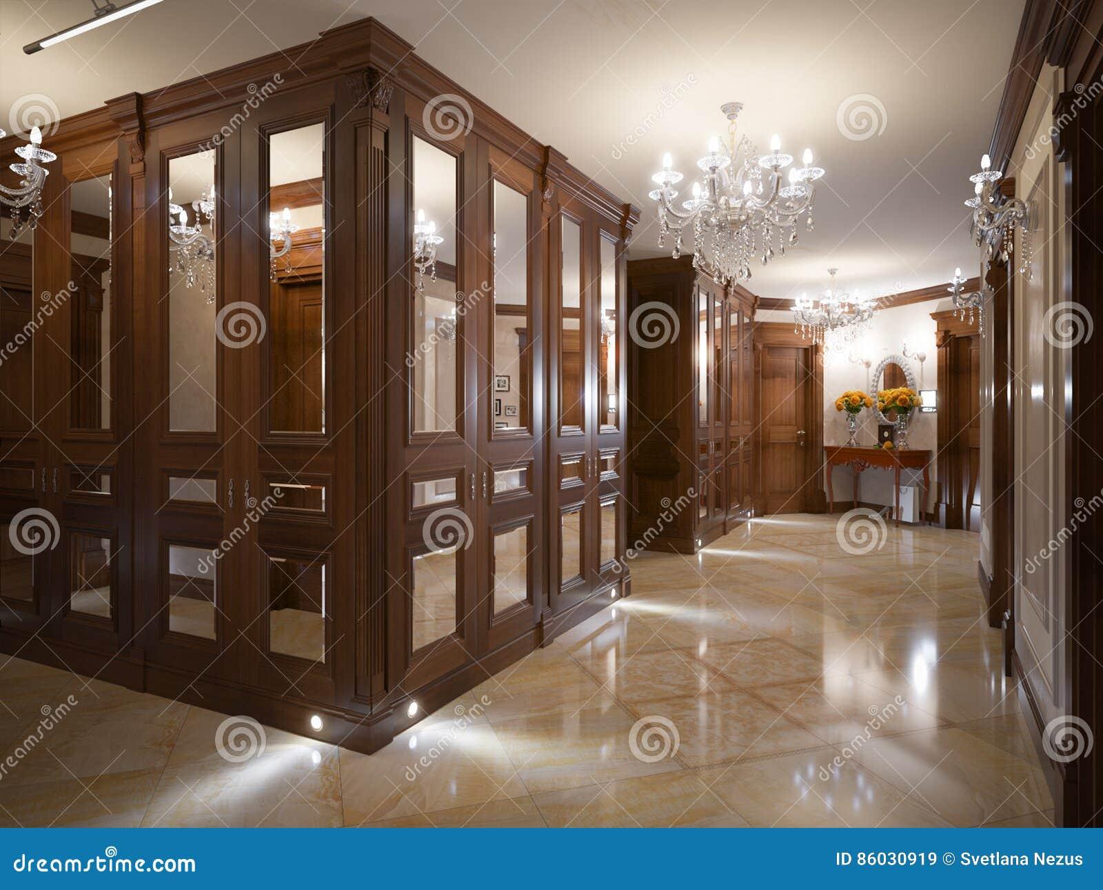 elegante innenarchitektur der klassischen und luxuriösen halle, Innenarchitektur ideen