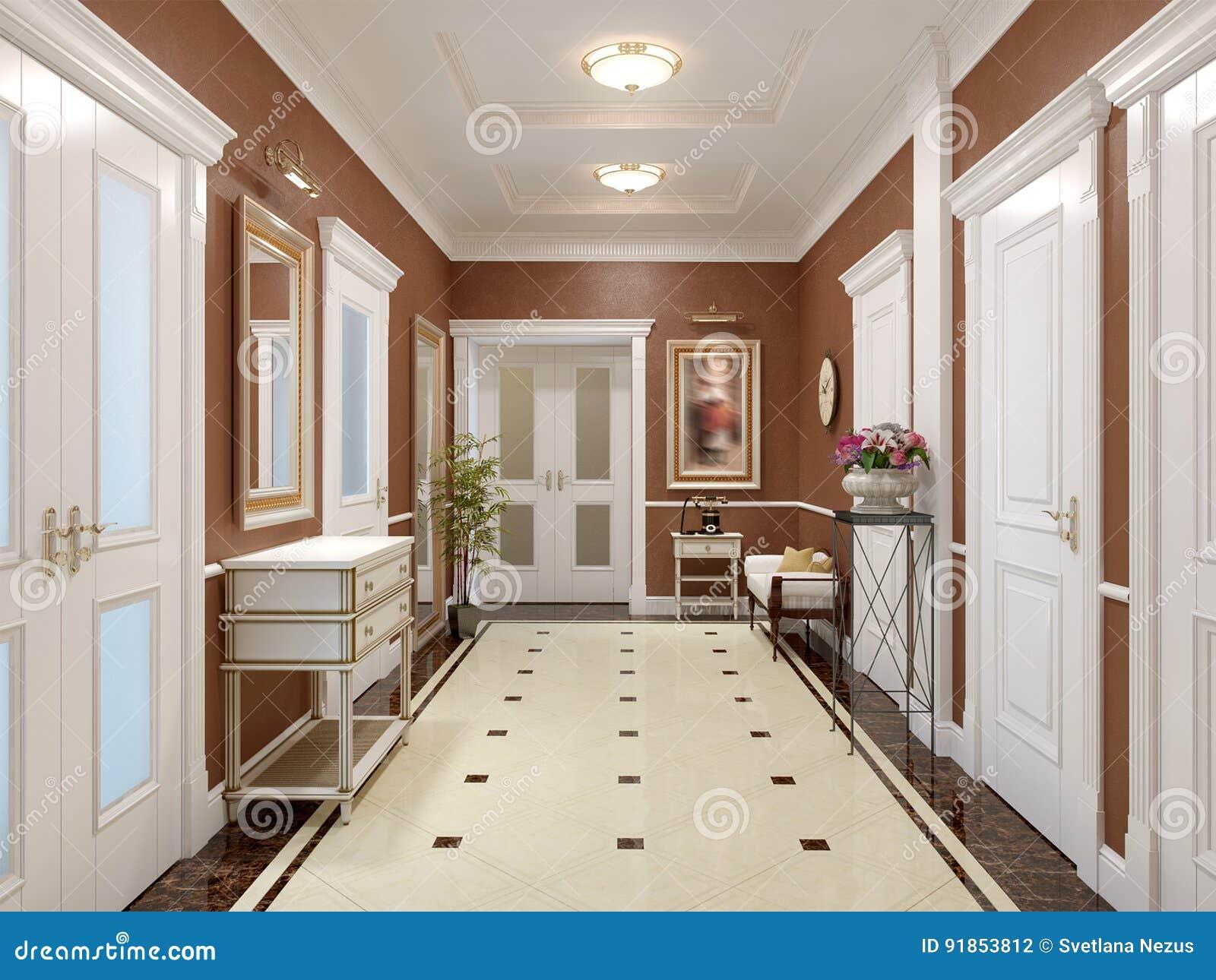 Elegante Innenarchitektur Der Klassischen Und Luxuriösen Halle ...
