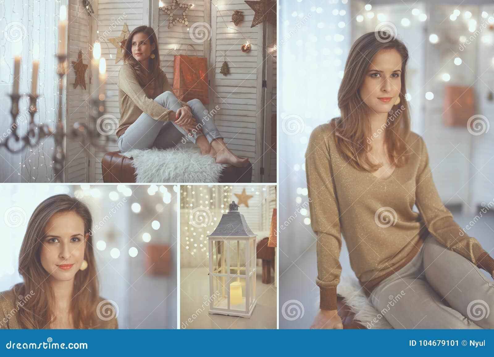 Elegante junge Frau mit Weihnachtslichtern