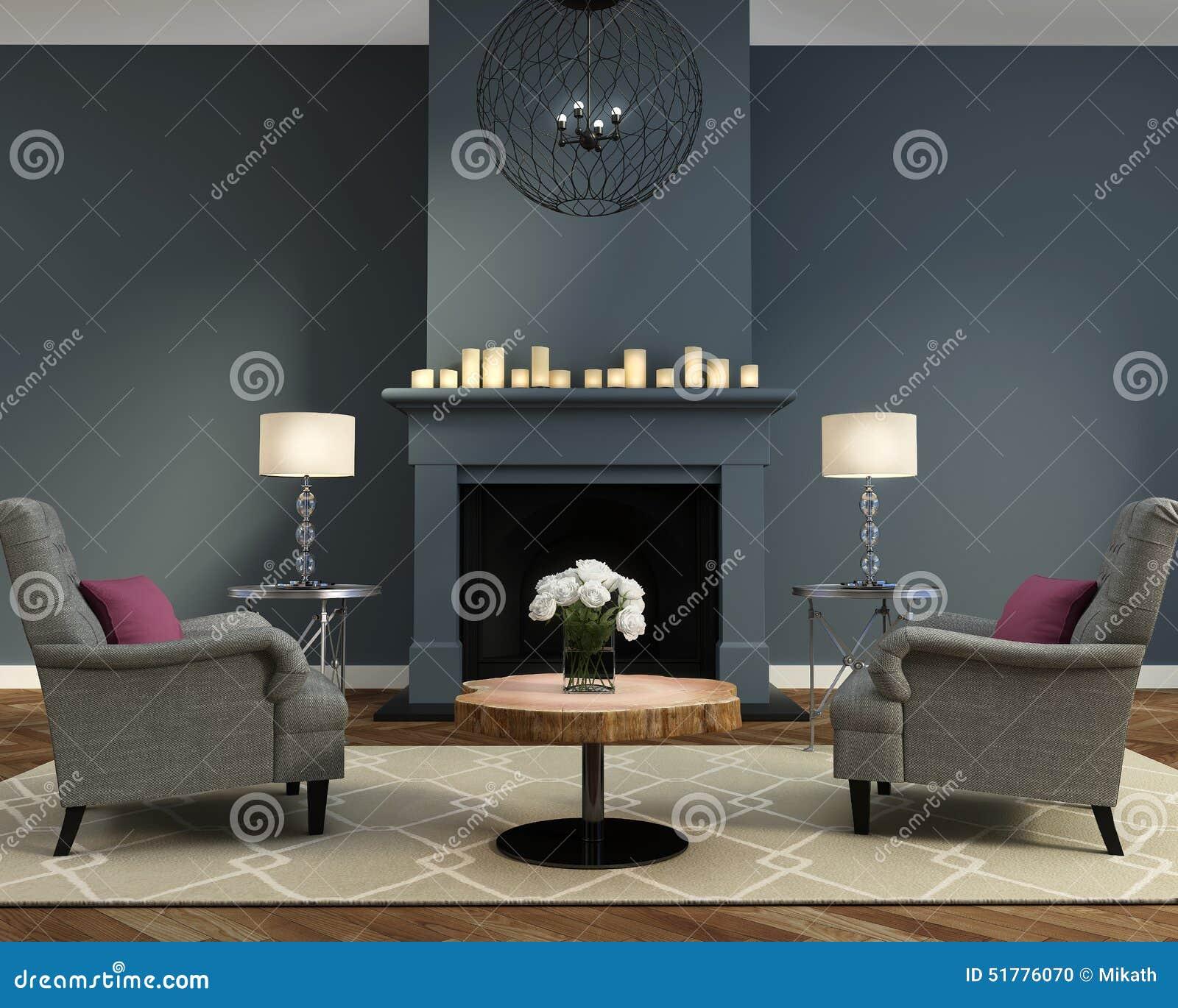 Elegante luxe eigentijdse woonkamer met open haard stock - Afbeelding eigentijdse woonkamer ...